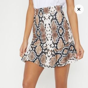 Taupe Verity Snake Print Flippy Hem Mini Skirt